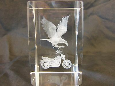 MOTORCYCLE & EAGLE 3-D Laser Etched Crystal Paperweight w/ light up base