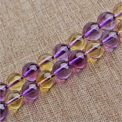 Smooth Natural Ametrine/Amethyst/Citrine Quartz Round Shape DIY Gemstone Beads