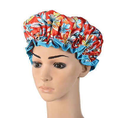 Cute Adult Satin Shower Cap Reusable Shower Cap Flower Red Blue Shower Caps