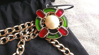 CHANEL VINTAGE Red GREEN PEARL GRIPOIX NECKLACE CHAIN BELT Authentic AMAZING