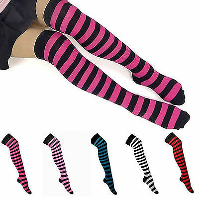 UP Sexy Womens Girls Stripe Stripy Over The Knee Thigh High Stockings Long Socks
