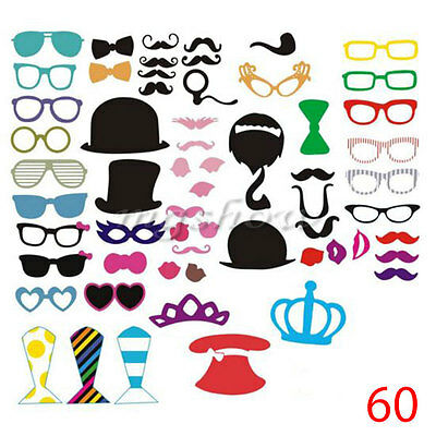 New DIY 60pcs Photo Booth Props Mustache On A Stick Weddings Birthday Party