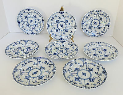 """8 Royal Copenhagen Blue Fluted Half Lace Bread Plates 6 1/8"""" First Quality 1/575"""