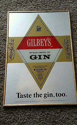 Vintage Gilbey's Distilled London Dry Gin Mirrored  Sign