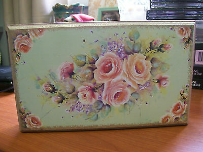 Shabby Chic JEWELRY BOX with hand painted ROSES