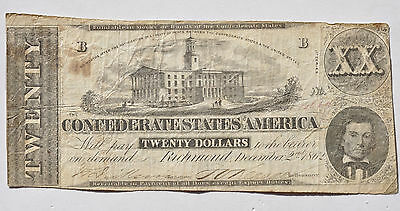 1862 $20 Confederate States Twenty Dollar Note Obsolete Currency CSA