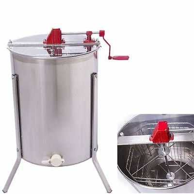 4 Frames Stainless Steel Honey Extractor Beekeeping + Outlet Plexiglas Cover