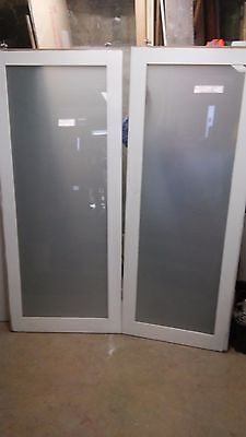sliding timber frame glass doors - double - very good condition