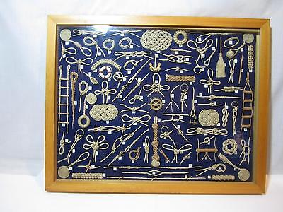 Huge Collection of Sailor Nautical Rope Knots Display in Wood Shadowbox 85