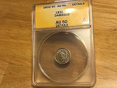 1832 Capped Bust Half Dime ANACS AU 50 Details NICE COIN!!!