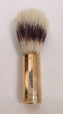 Vintage Barber Shaving Brush Boar Bristles Gold Metal Handle