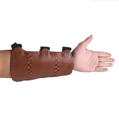 Double-layer Cow Leather Shooting Hunting Archery Arm Guard 3 Straps Brown