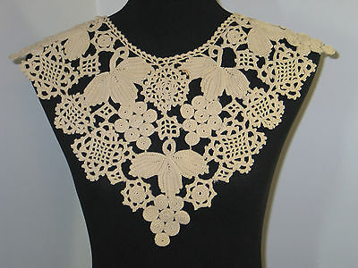 Antique/vintageIrish Crochet Lace Cape Collar -French?- Grapes Leaves-STUNNING!