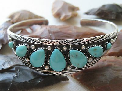Vintage Zuni Raymond Martinez Turquoise and Sterling Silver Cuff Bracelet