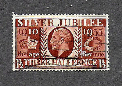 GREAT BRITAIN 1935 THE 25th ANNIV OF KING GEORGE V, 1-1/2p USED BROWN