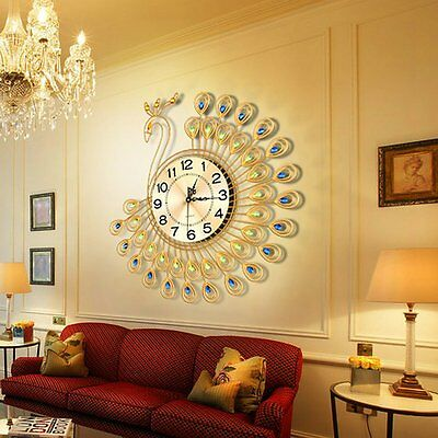 Creative Home Decor-Gold Peacock Large Wall Clock Metal Living Room Wall Watch