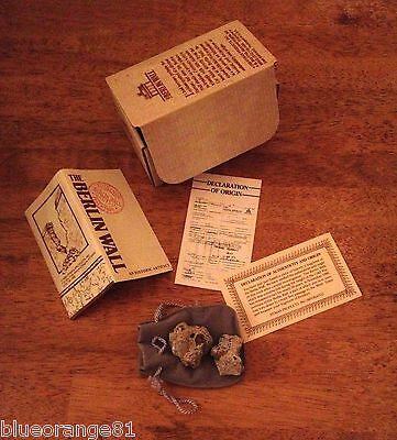 1989 Berlin Wall Historical Artifact w/Certificate of Authenticity 2 Pieces