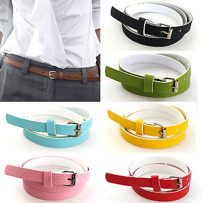 U Ladies Slim Fashion Waist Belt Dress Access Thin Shiny Skinny PU Leather Women