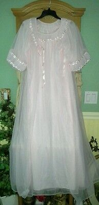 VTG PINK Frilly TOSCA Sheer Chiffon Peignoir Robe Nightgown Negligee Gown Set S