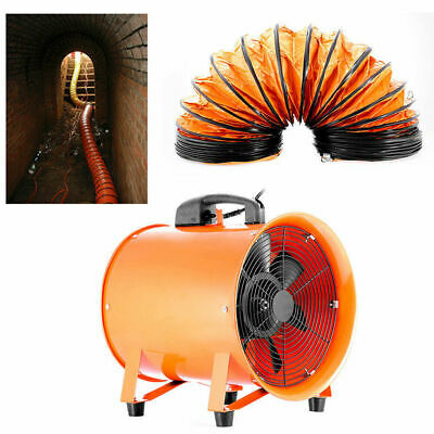 """Portable Industrial Ventilator Axial Extractor Fan 250mm 10"""" With 5m Duct Garage"""