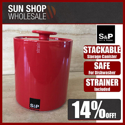 100% Genuine! S&P SOHO Stackable Storage Canister and Strainer Red! High Quality