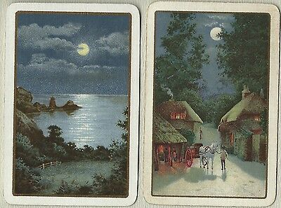 Swap Playing Vintage Card-  Under the Moonlight- Linen finish
