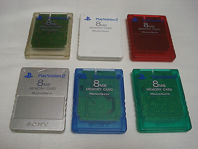 Playstation 2 Memory Card Set White Red Blue Green Clear Silver PS2