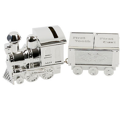 My First Tooth & Curl Money Box Silver Plated Train Christening Gift Baby Boy