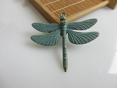 2 x Antique Greek Bronze Dragonfly Large Charm Pendant For Necklace DIY Fittings