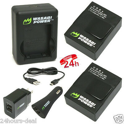 Wasabi Power Battery (2-Pack) and New Dual Charger for GoPro Hero3 Hero3+ (wi...