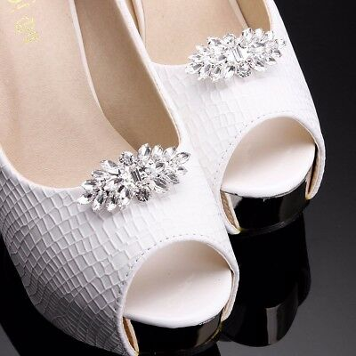 AU 2PCS Silver Plated Crystal Rhinestone Shoe Clips Tone Boots Buckle Decoration