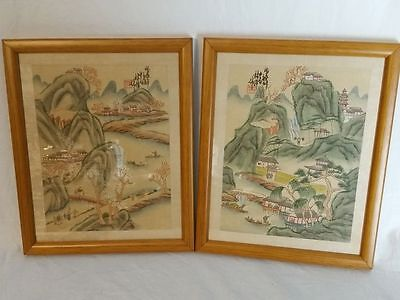Two watercolor paintings on silk - China - middle of the 20th century