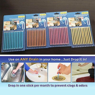 1/2/4 pack Clean Sticks Drain Cleaner and Deodorizer, Unscented 12 stick / Pack
