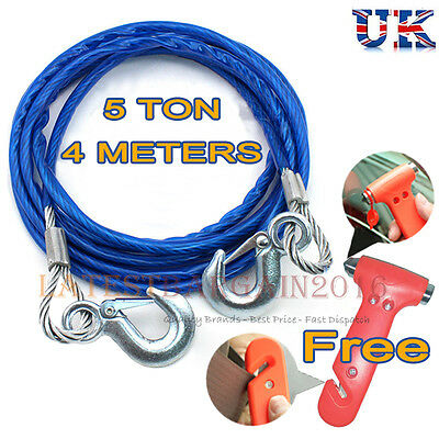 5 Tonne 4M Tow Car Ropes Heavy Duty Pull Steel Wire Van Metal Road Recovery Hook