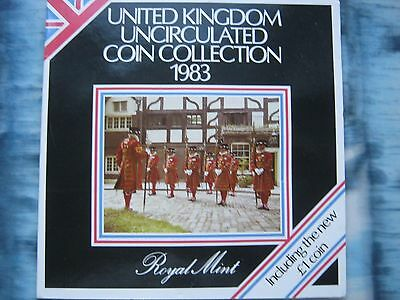UK Great Britain 1983 8 coin UNC set 1/2 Penny - 1£ Pound by Royal Mint folder