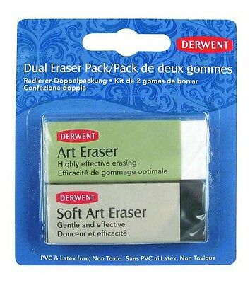 Derwent Dual Eraser Pack - blister pack of 2 Erasers / Rubbers