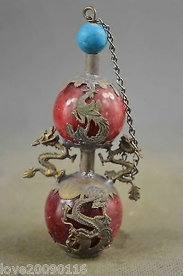 Collectible Old Miao Silver Carve Dragon & Phoenix Inlay Agate Perfume Bottle