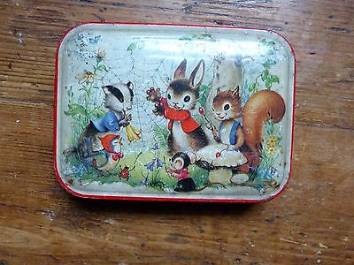 Vintage Blue Bird Confectionary Tin With Woodland Animals
