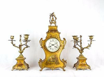 19th Century French Giltwood and Gilt Metal Clock Garniture