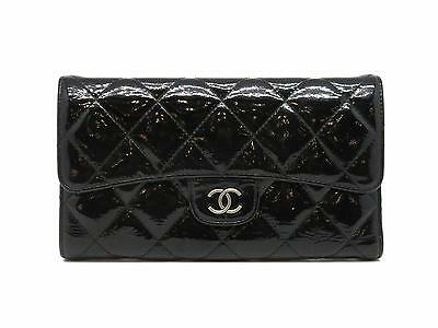 Auth Chanel Quilted Patent Leather SHW Long Wallet Purse Black