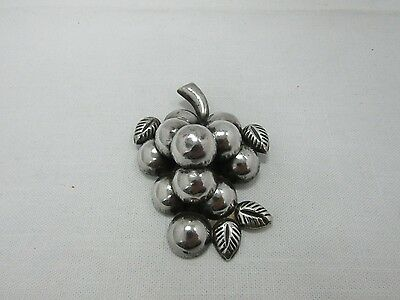Vintage Large Sterling Silver Grape Vine Brooch Pin Made in Mexico