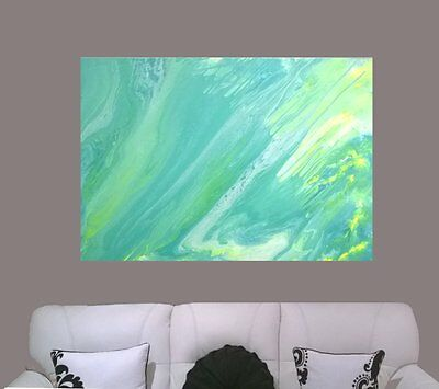HUGE 122x92 Blue Lime Yellow Modern Painted Abstract Canvas Painting Art