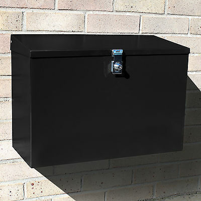Large Outdoor Lockable Letterbox/Parcel Box/Home Delivery/Secure Postbox Black