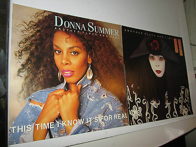 rare 1989 set of 2 DONNA SUMMER another place and time PROMO ONLY FLAT poster