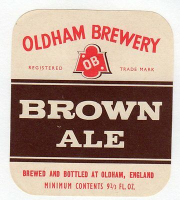 Oldham Brewery Brown Ale Bottle Label