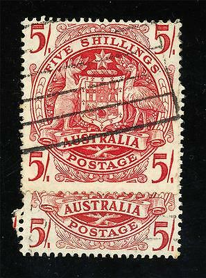 AUSTRALIA 5/- ARMS Re-Entry Scroll Work Used