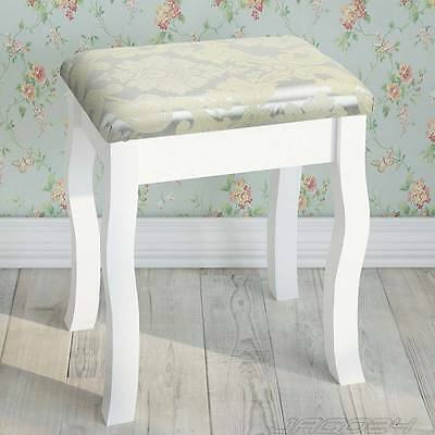 Wooden Vintage Stool Padded Chair for Dressing Table Piano Makeup Seat White
