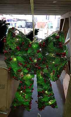 Battery operated hanging green linen christmas bow with berrys light up