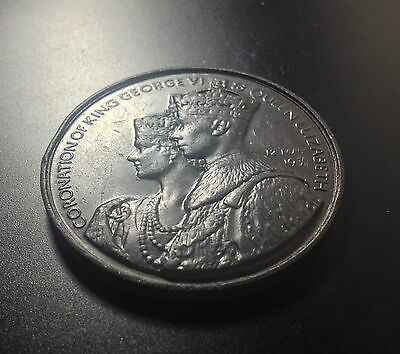 1937  King George VI & Queen Elizabeth I Bronze Coronation Medal 44mm Top Grade