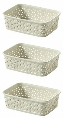 3 x Curver My Style Rattan Tray Basket Vintage White A6 Storage Organiser